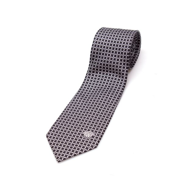 Versace Collection Men's Black/ Silver Link Silk Slim Tie