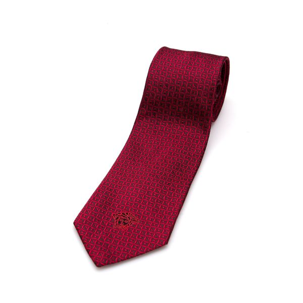 Versace Collection Men's Red Abstract Silk Slim Tie
