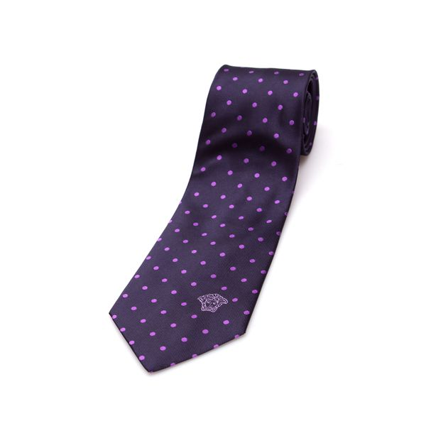Versace Collection Men's Purple Dot Silk Slim Tie