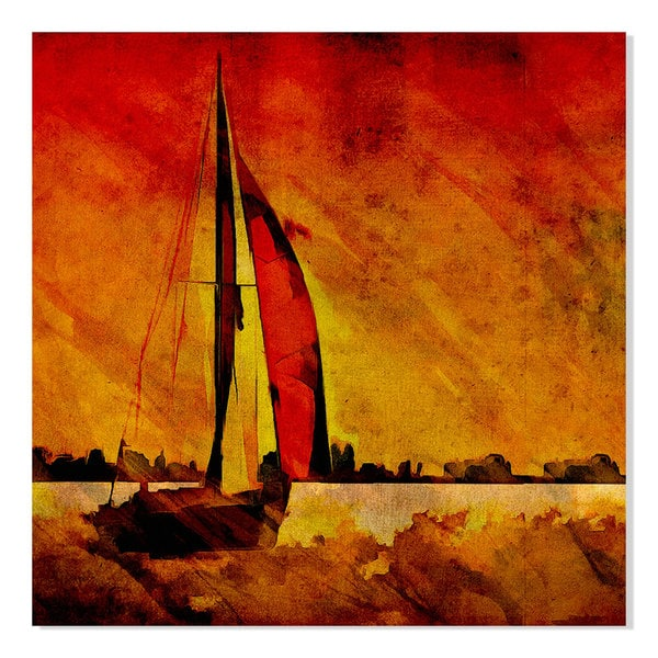 Gallery Direct Red Line Print on Birchwood Wall Art