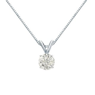 Auriya 14k Gold 1/2ct TDW Round-Cut Diamond Solitaire Necklace (J-K, SI1-SI2)