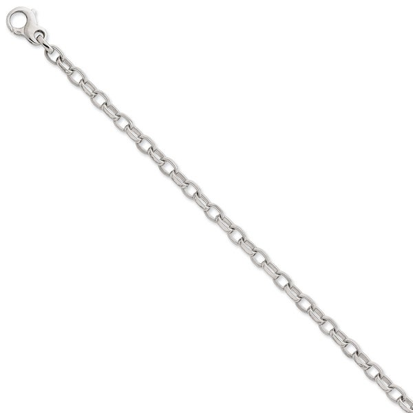 Versil 14k White Gold Polished and Ridged Fancy Link Bracelet