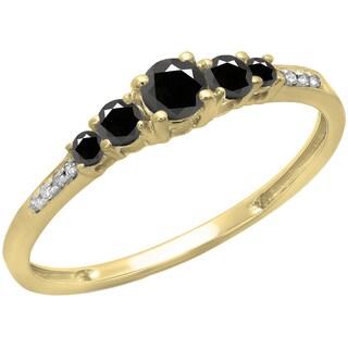 14k Gold 2/5ct TDW Black and White Diamond Bridal 5-stone Engagement Ring (H-I, I1-I2)