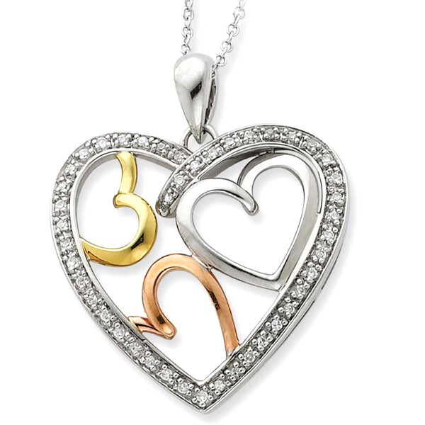 Versil Sterling Silver Rose and Gold-plated The Bond of Love Heart Necklace