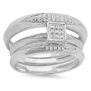 Sterling Silver His and Her Diamond Accent Micro Pave Engagement Rings (Set of 3)