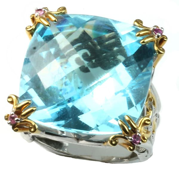 Michael Valitutti 20mm cushion sky blue topaz ring