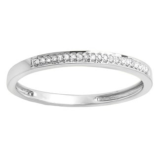 10k White Gold 1/10ct TDW White Diamond Stackable Band (I-J, I2-I3)