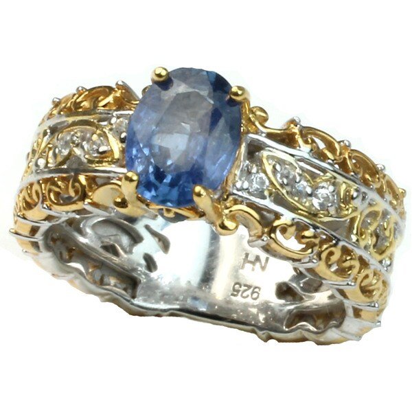 Michael Valitutti Blue Sapphire & White Sapphire Ring