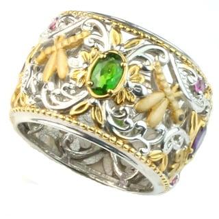 Michael Valitutti wide band ring w/multi gemstones