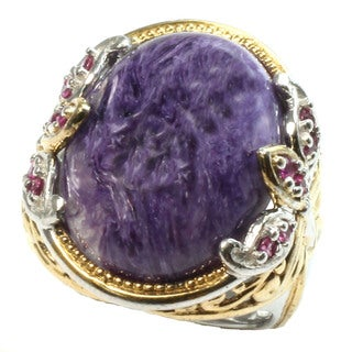 Michael Valitutti charoite and pink sap ring