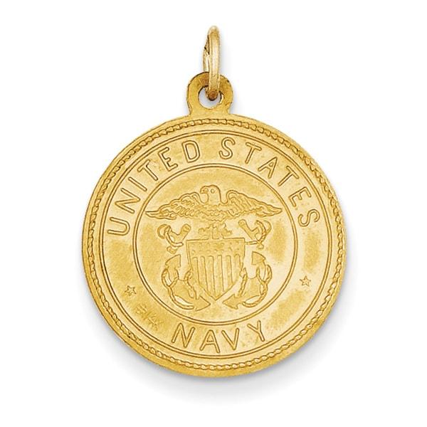 14k Yellow Gold US Navy Saint Christopher Medal Pendant