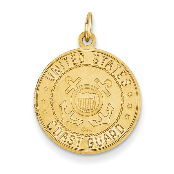 14k Yellow Gold US Coast Guard Saint Christopher Medal Pendant
