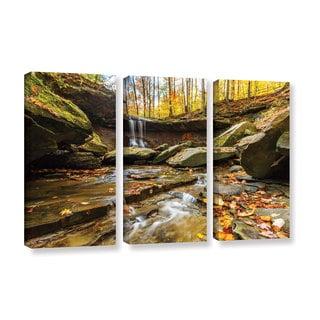 ArtWall Cody York's Blue Hen Falls 3, 3 Piece Gallery Wrapped Canvas Set