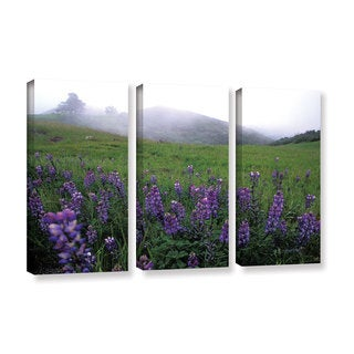 ArtWall Kathy Yates's Figueroa Mountain with Fog, 3 Piece Gallery Wrapped Canvas Set