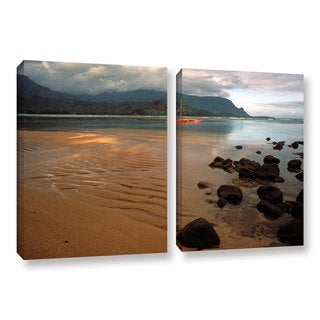 ArtWall Kathy Yates's Hanalei Bay at Dawn, 2 Piece Gallery Wrapped Canvas Set