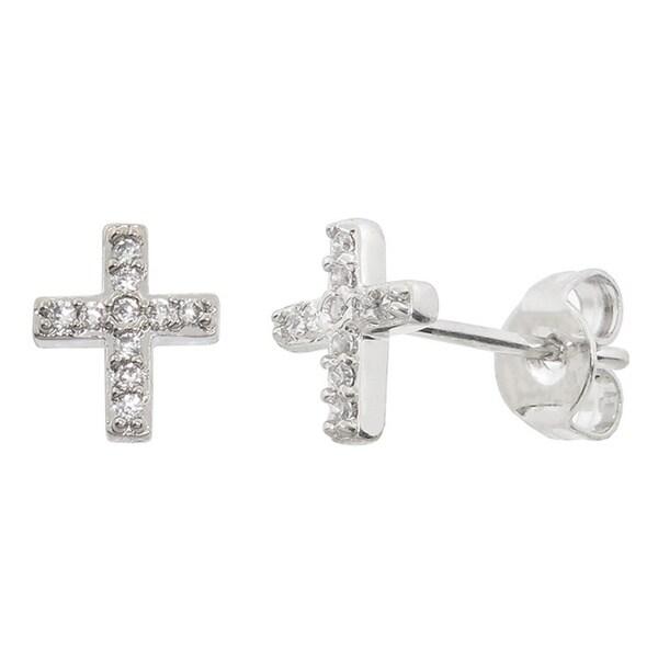 Eternally Haute Rhodium-plated Cubic Zirconia Pave Cross Studs
