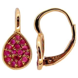 Kabella 14k Rose Gold Ruby Pear Leverback Earrings