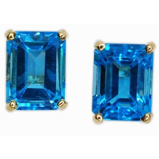 Kabella 14k Gold Blue Topaz Emerald Cut Stud Earring