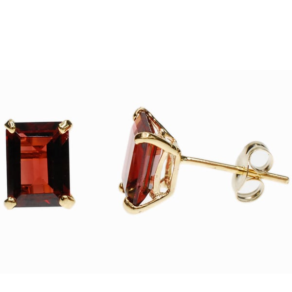 Kabella 14k Gold Garnet EmeraldCut Stud Earrings