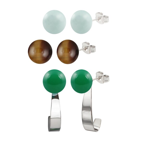 Sterling Silver 8-8.5mm Amazonite/ Tiger Eye and Green Agate Round Button Gemstone Bead Earrings and Jacket Set