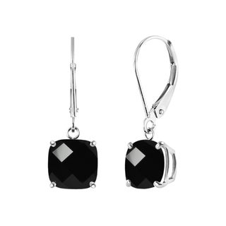 Sterling Silver Black Onyx Leverback Dangle Earrings