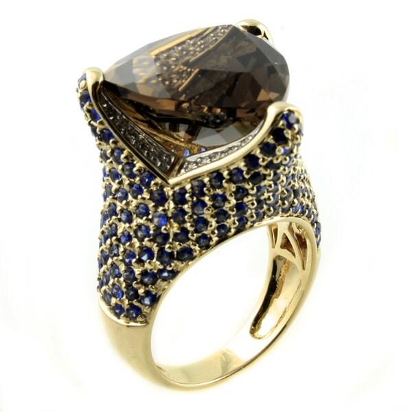 14k Yellow Gold 1/5ct TDW Diamond Smokey Quartz and Blue Sapphire Ring (H-I, SI2-I1) 17448512