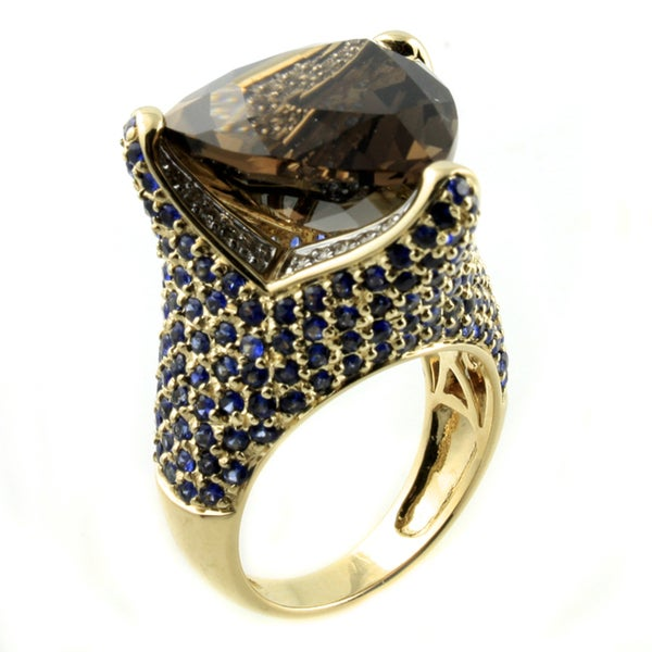 Beverly Hills Charm 14K Yellow Gold 1/5ct TDW Diamond Smokey Quartz and Blue Sapphire Ring (H-I, SI2-I1) 17448512