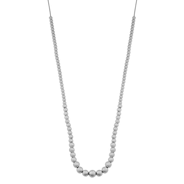 Argento Italia Rhodium Plated Sterling Silver Graduated Polished Beads Adjustable Slide Necklace