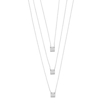 Argento Italia Sterling Silver Squares on Layered Diamond-cut Bead Chain Necklace
