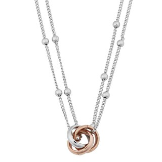 Argento Italia Two-tone Sterling Silver Interlocking Circles Double Strand Necklace