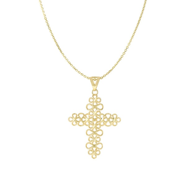 14 Karat Yellow Gold 38x25mm Floral Cross Necklace, 18 inches
