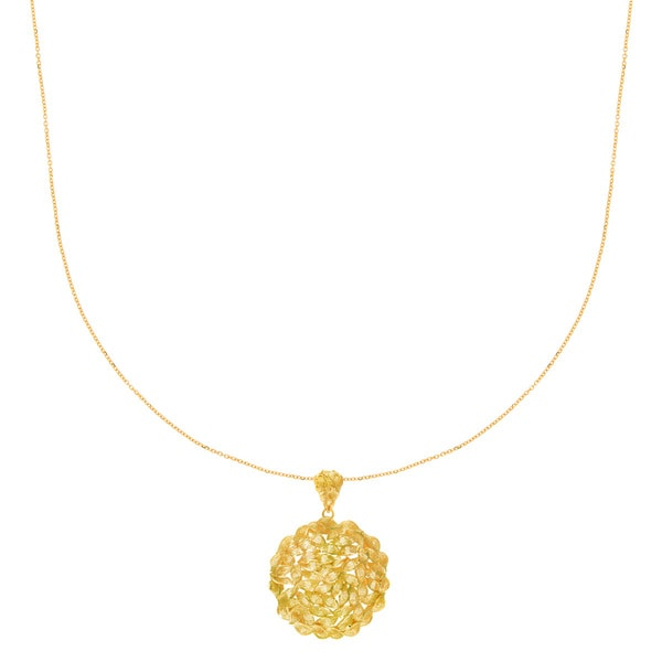 14 Karat Yellow Gold 45x30mm Twisted Circle Necklace, 18 Inches