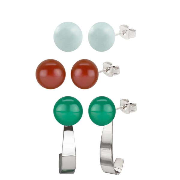 Sterling Silver 8-8.5mm Amazonite/ Carnelian and Green Agate Round Button Gemstone Bead Earrings and Jacket Set