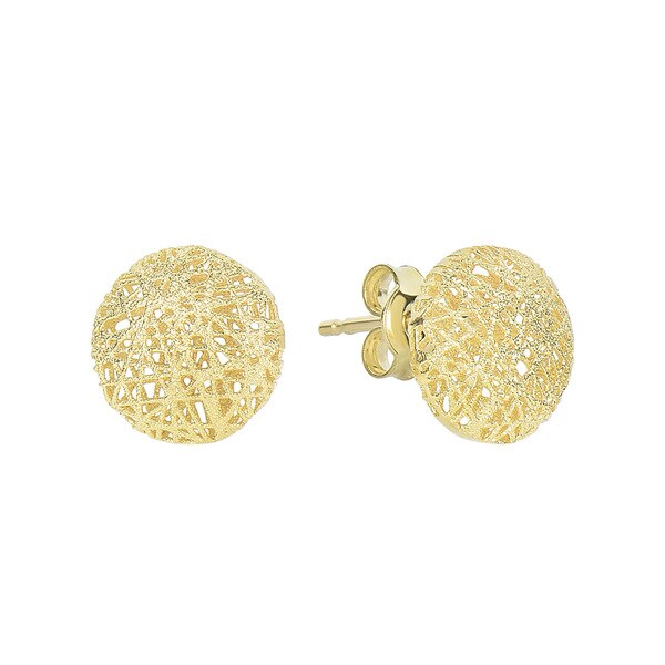 14 Karat Yellow Gold 12x12mm Mesh Ball Stud Earrings With Friction Backs
