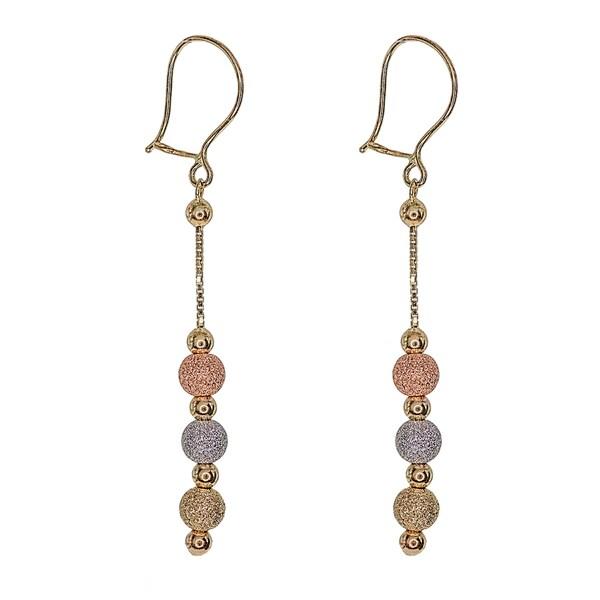 14k Yellow Gold Multi-color Beaded Dangling Earrings