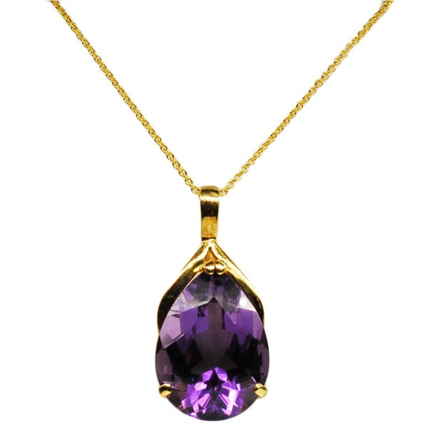 Kabella 14k Yellow Gold Amethyst Tear Drop Pendant