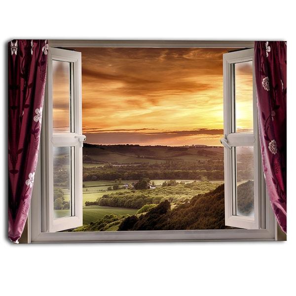 Designart - Open Window to Rural Landscape Contemporary Canvas Art Print