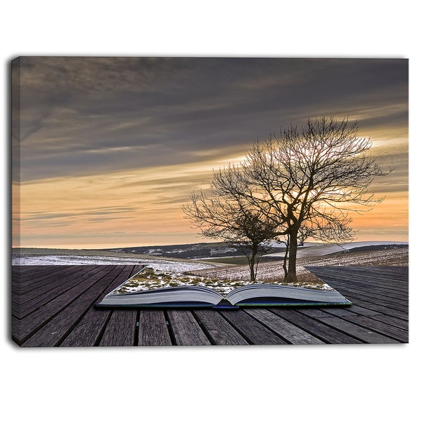 Designart - Winter Coming out of Pages Contemporary Art Canvas Print