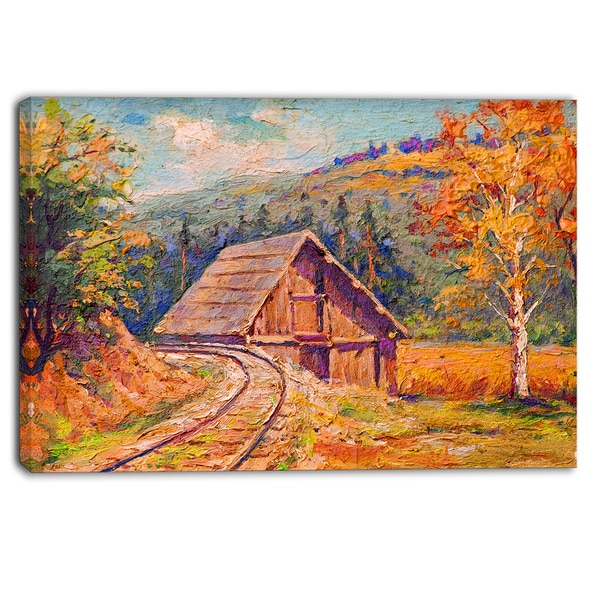 Designart - Railway Track in Village - Landscape Canvas Art Print
