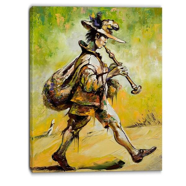 Designart - Wandering Troubadour with Pipe Music Canvas Art Print