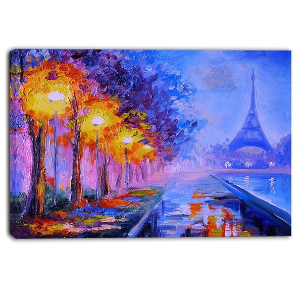 Designart - Eiffel from a Distance - Landscape Canvas Artwork