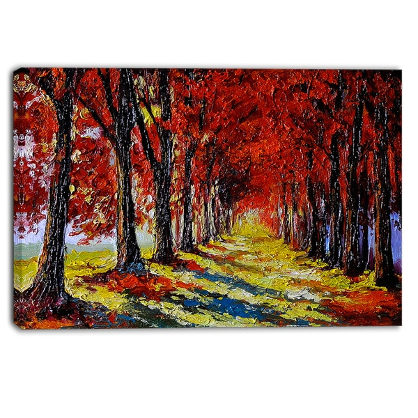 Designart - Autumn Forest with Red Leaves - Landscape Canvas Print