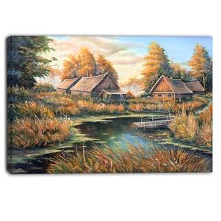 Designart - Birches in Autumn Village - Landscape Canvas Print