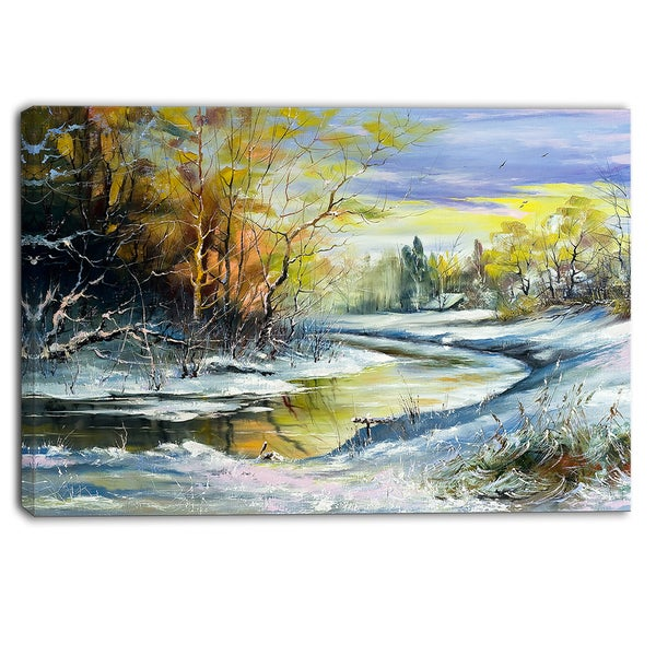 Designart - River in the Spring Woods - Landscape Canvas Art Print