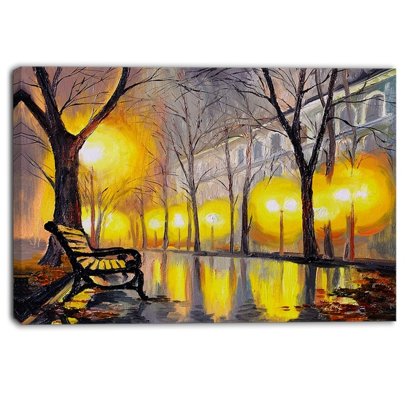 Designart - Empty Autumn Street - Landscape Canvas Artwork