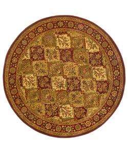 Hand-tufted Baktarri Red/ Beige Wool Rug (8' Round)