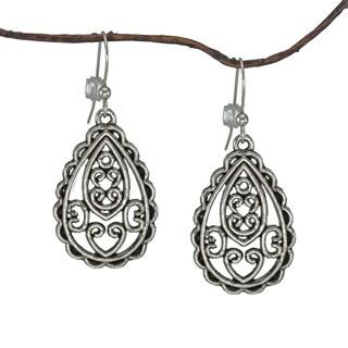 Jewelry by Dawn Antique Silver Pewter Filigree Teardrop Earrings