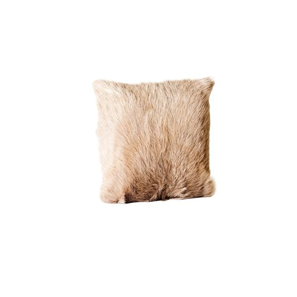 Aurelle Home Goat Fur Pillow Light Grey