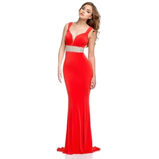 Terani Couture Women's Long V-Neck Prom Gown