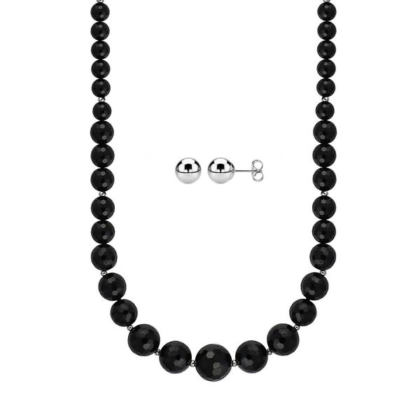 8-16mm Graduated Faceted Black Agate Necklace Accented with Sterling Silver Beads with 5mm Round Ball Studs
